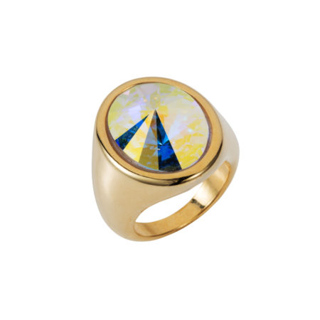 Oval Ring - Gold with Crystal AB