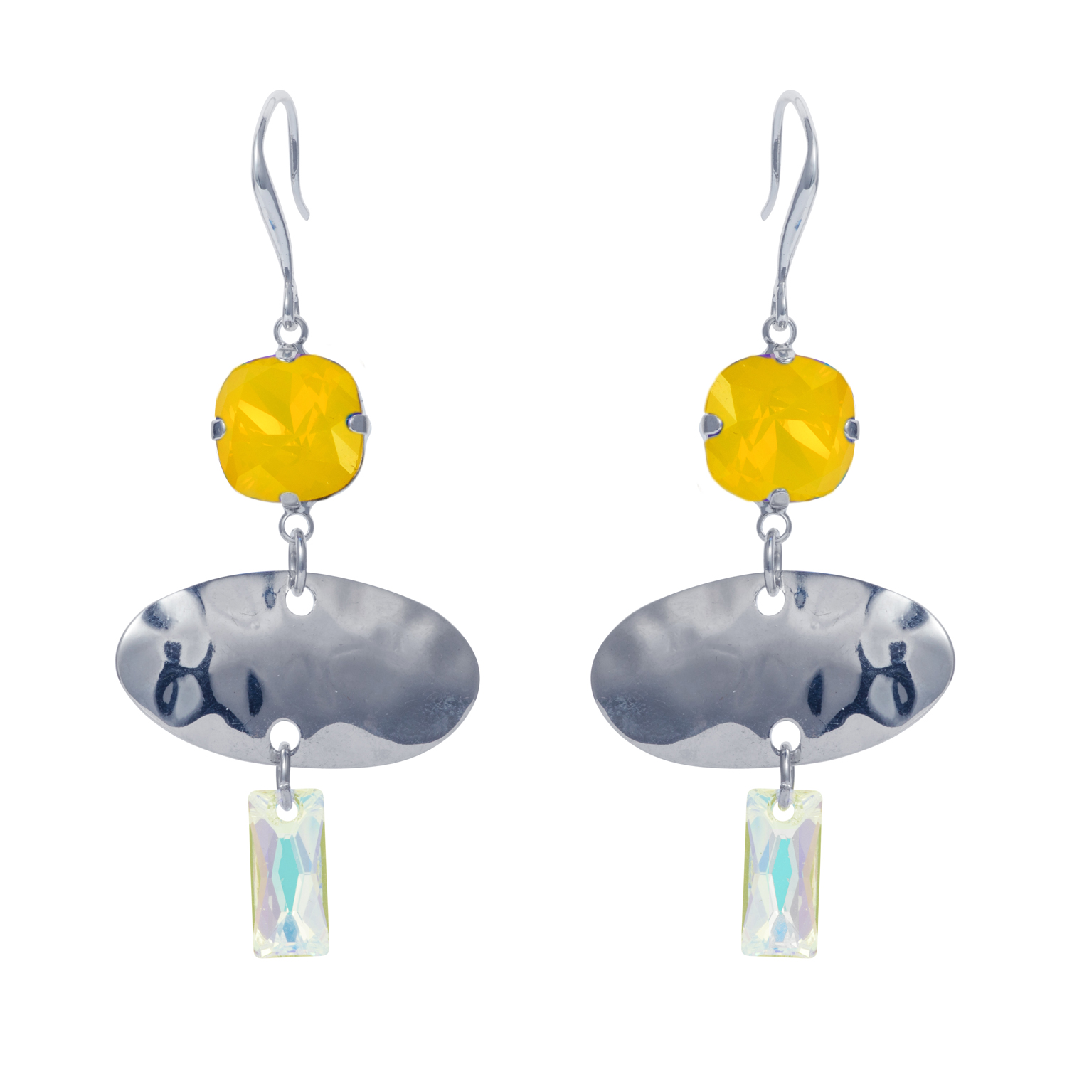 Oval Textured Earring Silver Yellow