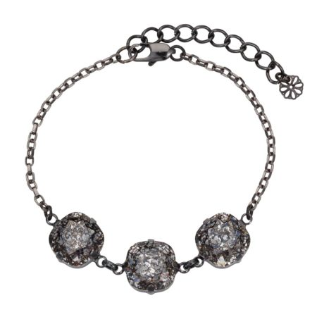 Patina Cushion Stone Bracelet Black