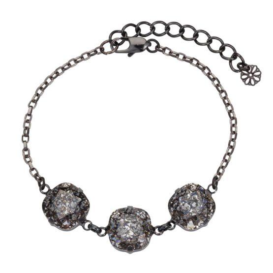 Patina Cushion Stone Bracelet Black