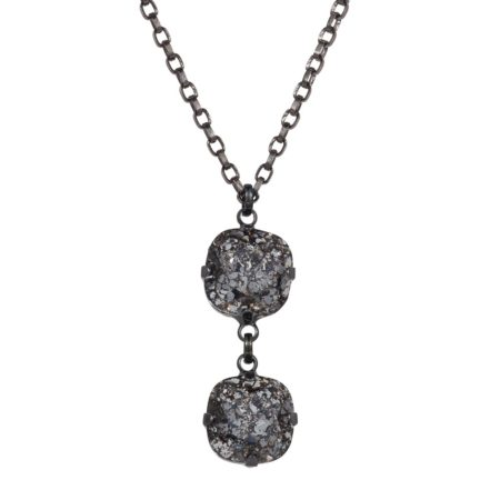 Patina Cushion Stone Necklace Black