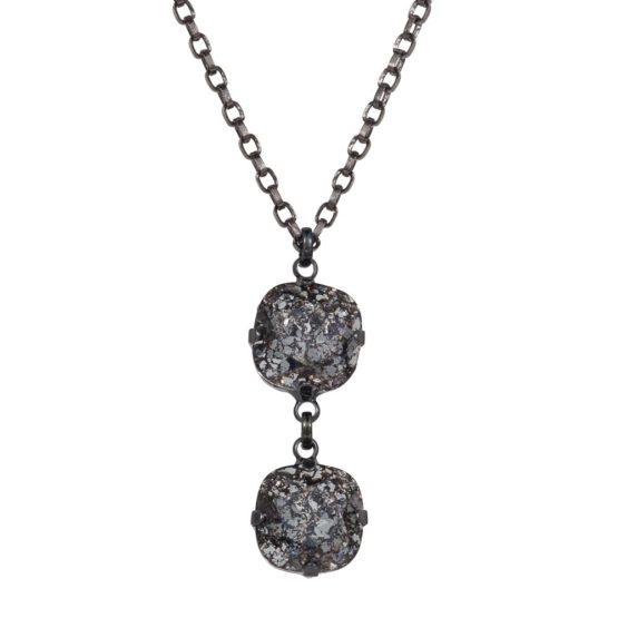 Patina Cushion Stone Necklace Black