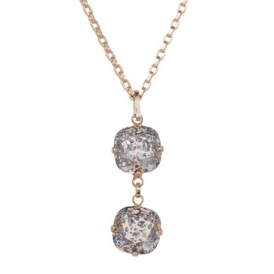 Patina Cushion Stone Necklace Rose Gold