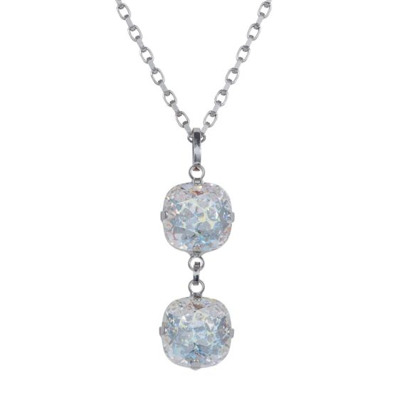 Patina Cushion Stone Necklace Silver