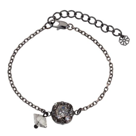 Patina Cushion Stone & Spike Bracelet Black
