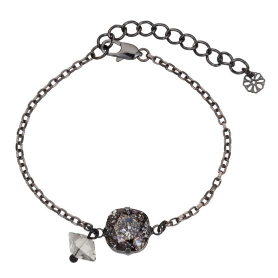 Patina Cushion Stone & Spike Bracelet Black