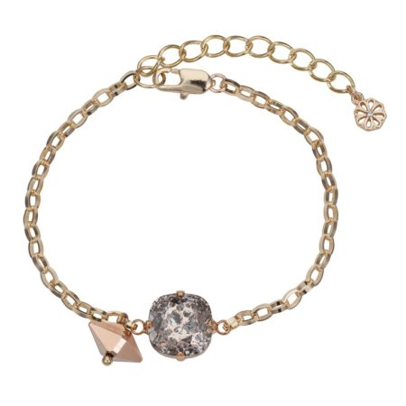 Patina Cushion Stone & Spike Bracelet Rose Gold