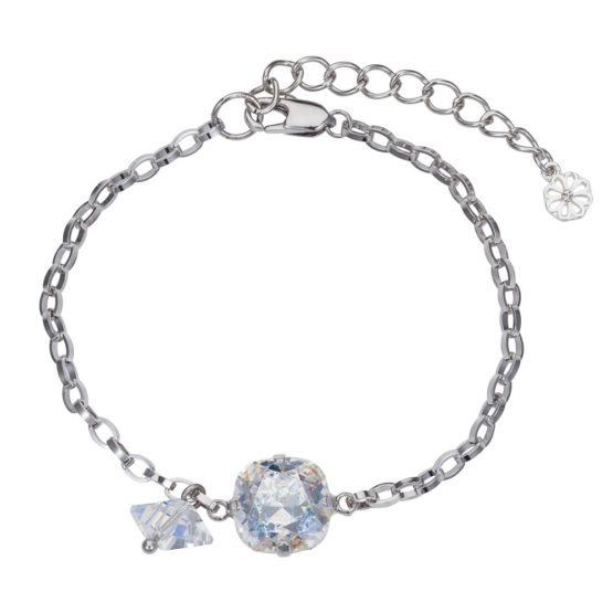 Patina Cushion Stone & Spike Bracelet Silver