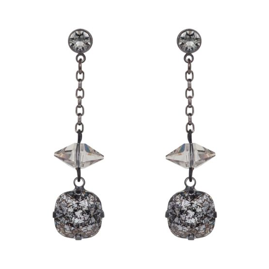 Patina Cushion Stone & Spike Drop Earrings Black