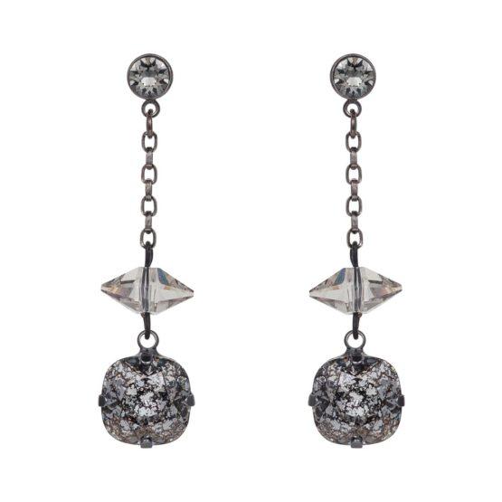 Patina Cushion Stone & Spike Drop Earrings Black