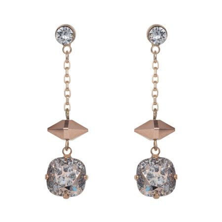 Patina Cushion Stone & Spike Drop Earrings Rose Gold
