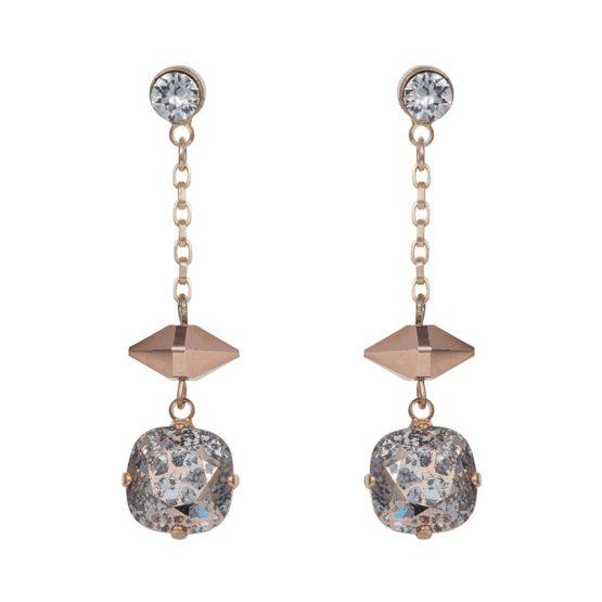 Patina Cushion Stone & Spike Drop Earrings Rose Gold