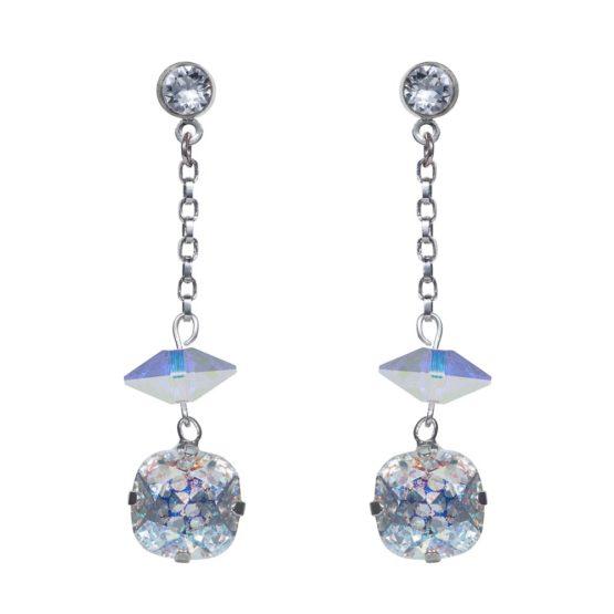 Patina Cushion Stone & Spike Drop Earrings Silver