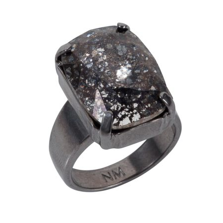Patina Oblong Stone Ring Black