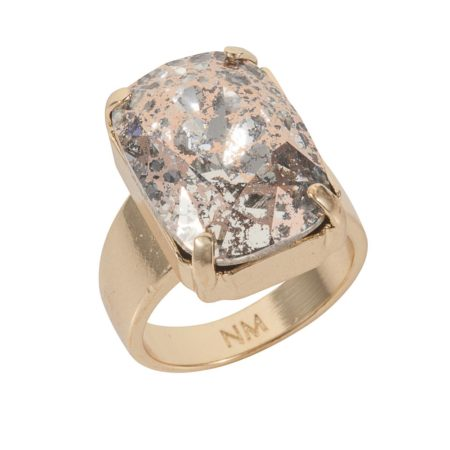 Patina Oblong Stone Ring Rose Gold