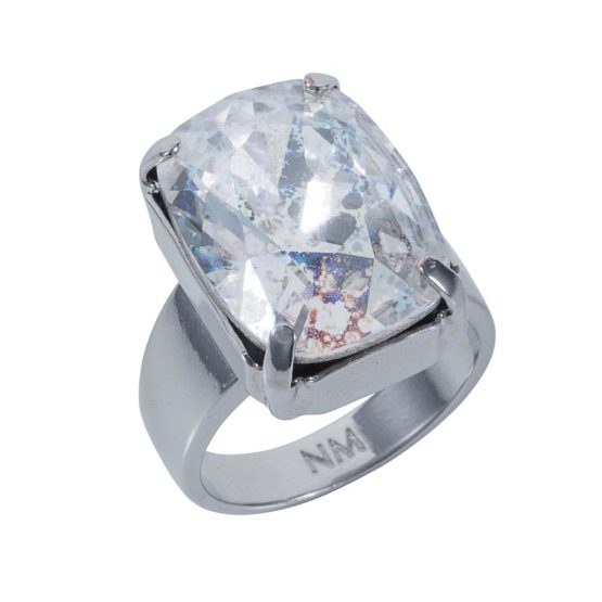 Patina Oblong Stone Ring Silver