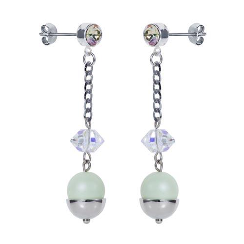 Pearl & Crystal Spike Earrings Mint Green A