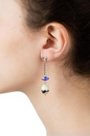 Pearl & Crystal Spike Earrings Mint Green B
