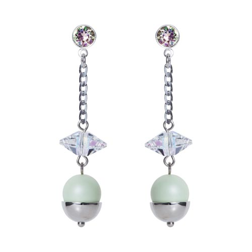 Pearl & Crystal Spike Earrings Mint Green C
