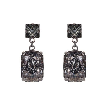Rectangular Drop Stone Earrings Black Patina A