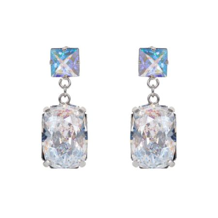 Rectangular Drop Stone Earrings Crystal Patina A