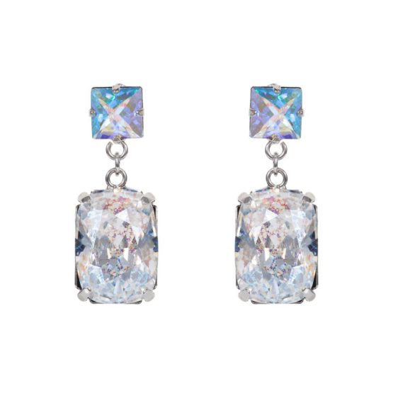 Rectangular Drop Stone Earrings Crystal Patina A