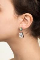 Rectangular Drop Stone Earrings Crystal Patina B