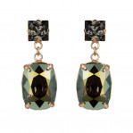 Rectangular Drop Stone Earrings - Iridescent Green - 01