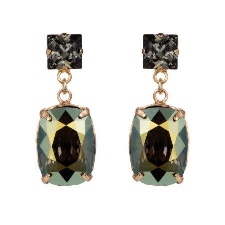 Rectangular Drop Stone Earrings - Iridescent Green - 01