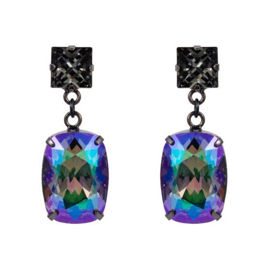Rectangular Drop Stone Earrings Petrol 01