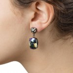 Rectangular Drop Stone Earrings Petrol 02