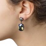 Rectangular Drop Stone Earrings Petrol 02
