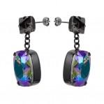 Rectangular Drop Stone Earrings Petrol 03