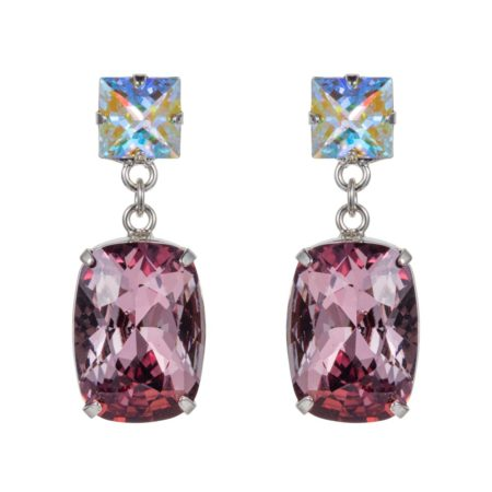 Rectangular Drop Stone Earrings Rose Pink 01