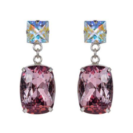 Rectangular Drop Stone Earrings Rose Pink 01