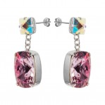 Rectangular Drop Stone Earrings Rose Pink 03