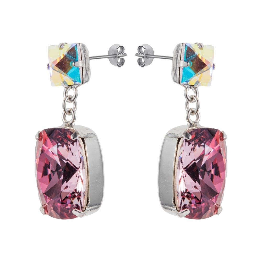 Rectangular Drop Stone Earrings Rose Pink 03