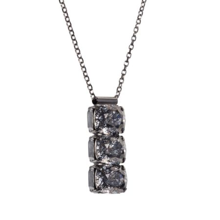 Rectangular Drop Stone Necklace Black Patina A