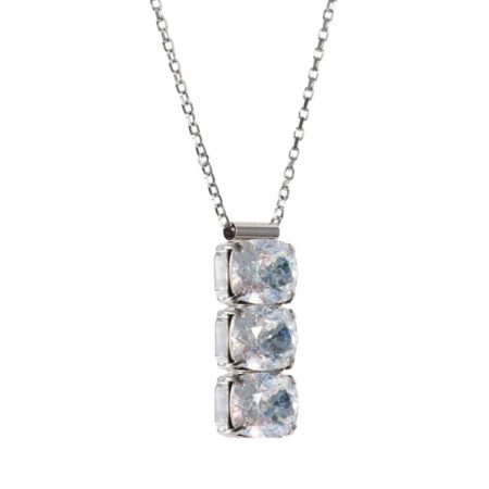 Rectangular Drop Stone Necklace Crystal Patina A
