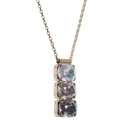 Rectangular Drop Stone Necklace Ombre Patina A