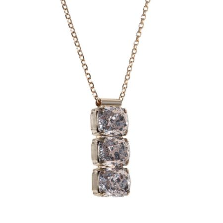 Rectangular Drop Stone Necklace Rose Gold Patina A