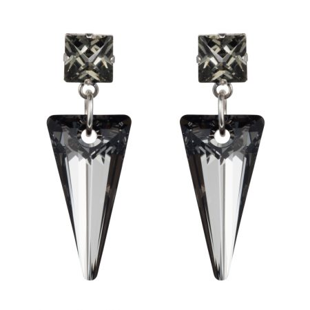 Crystal Shard Earrings - Silver Night