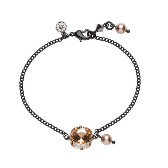 Single Stone Bracelet Black & Golden Shadow
