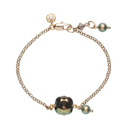 Single Stone Bracelet Gold & Iridescent Green