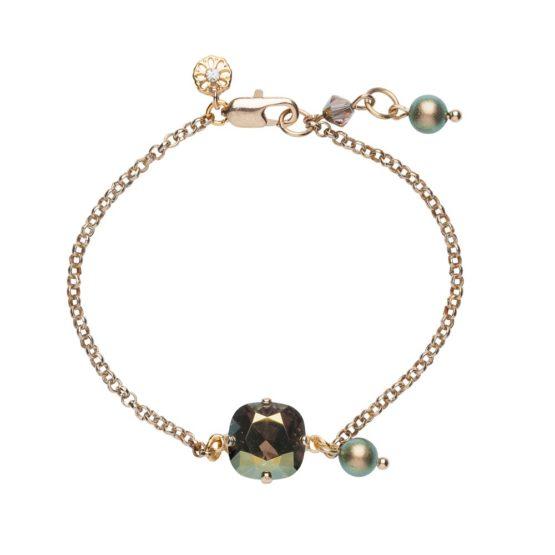 Single Stone Bracelet Gold & Iridescent Green