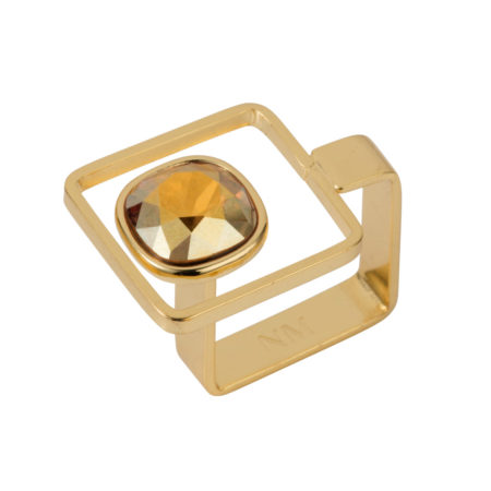 Square Frame Ring - Gold with Golden Shadow - 01