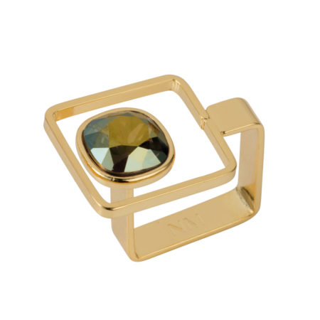 Square Frame Ring - Gold with Iridescent Green - 01
