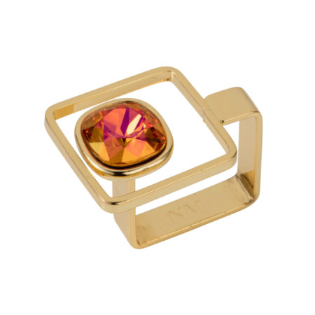 Square Frame Ring - Gold with Magma - 01
