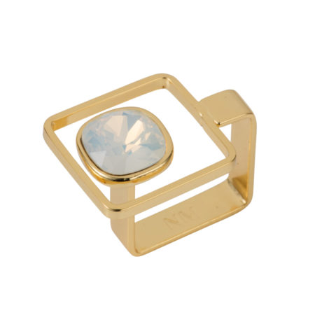 Square Frame Ring - Gold with Opal White - 01
