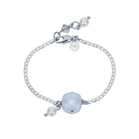 Square Stone & Glass Pearl Bracelet Dove A